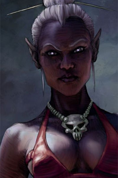 A drow princess glowering in the shadows.