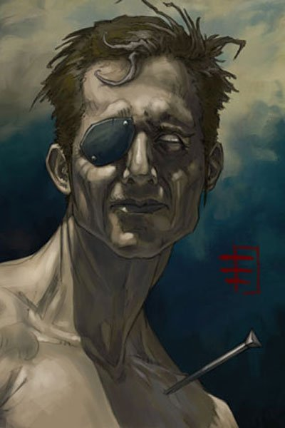 A grim man with an eye patch and a spike in his shoulder.
