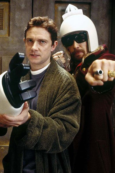 Martin Freeman as Arthur Dent and Sam Rockwell as Zaphod Beeblebrox