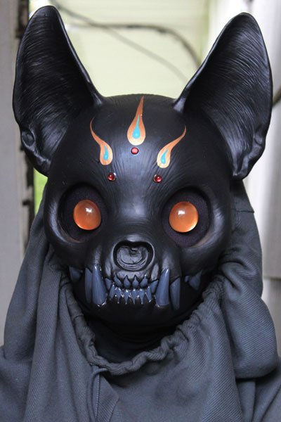 A black cat skull mask.