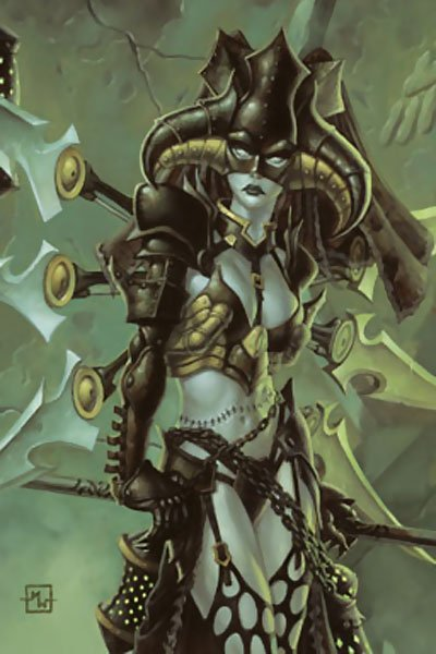 A green-skinned woman with a large horned helmet and bladed armor stands