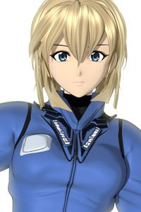 A woman with short blond hair and a blue jacket stares.