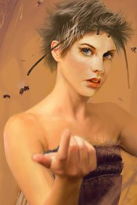 A woman with short brown hair and antennae beckons you closer.