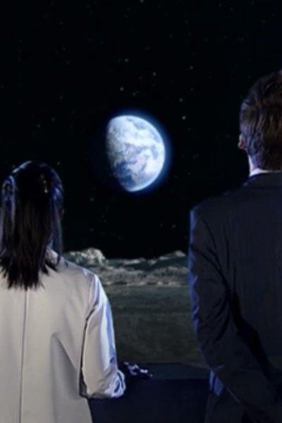 Freema Agyeman as Martha Jones, David Tennant as the 10th Doctor and the Moon.