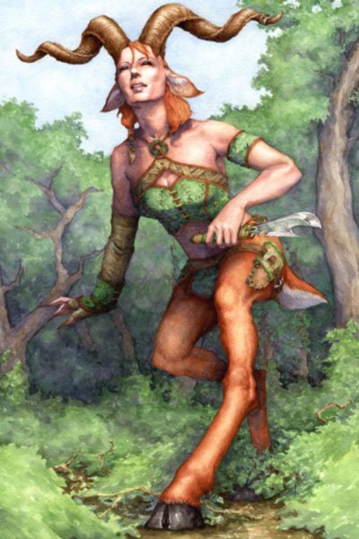 A woman with red hair, long horns and goat legs walks through the forest.