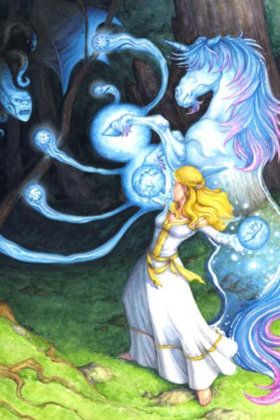 A woman in white robes and a unicorn cast spells at a glowing blue figure.