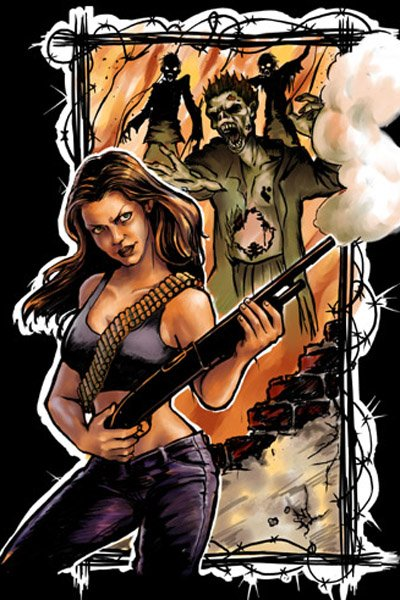 Veronica's illustration of Claudia Christian blowing a hole in a zombie.