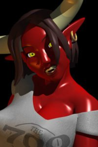 A red-skinned demon woman with large white horns looking shocked.