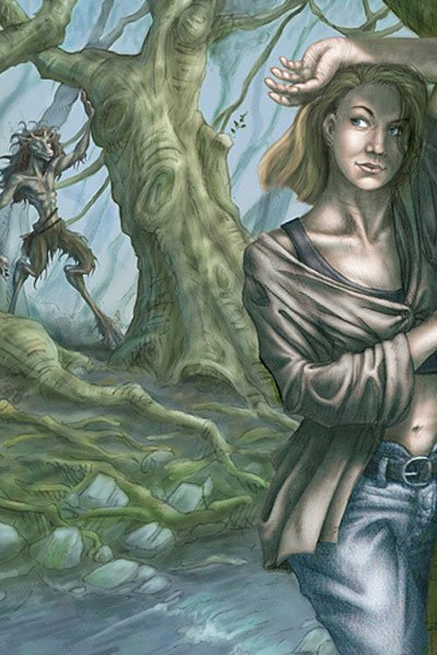 A woman coyly stands in the forest while a hooved and horned creature approaches.