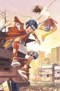 Two children fly though a desolate urban region.