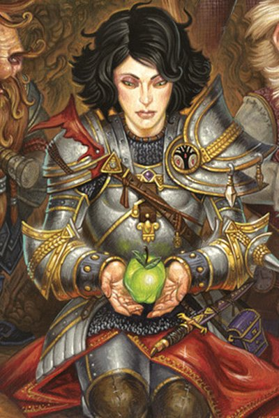 A young woman in plate armor hods a green apple, with small men surrounding her.