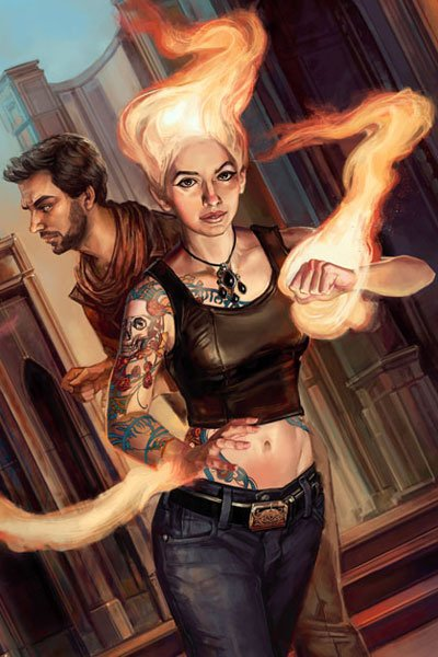 A woman with flaming hair and hands stands ready.