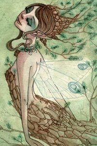 A fairy with brown hair, translucent wings and brown bark clothing.