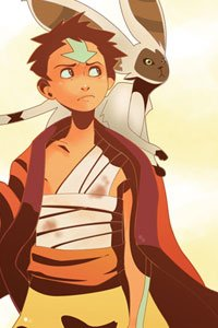 Aang from the Last Airbender and his flying lemur bat Momo.