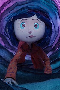 Coraline crosses into the other world through a long florescent tunnel.