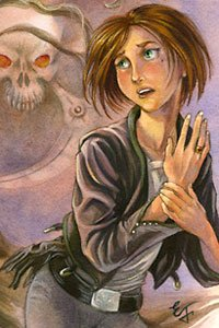 A young woman clutches her hand while looking in fear at the image of a skull behind her.