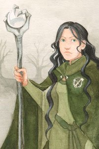 A young woman with long black hair and a long green cloak holds a long, ornate staff.