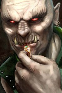 An orcish fellow holds a golden ring close to his face.