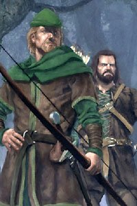 Robin Hood and Little John stand in the woods.