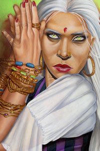 A beautiful woman with pale eyes and long white hair holds her hands to her face.