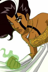 A dark-haired woman with a linear tattoo clenches a green glowing fist.
