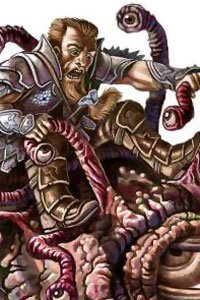 An armored man wrestles with a many-tentacled beast.