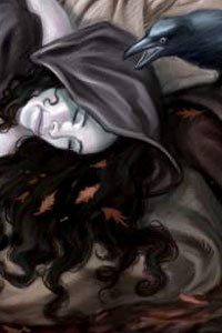 A hooded woman rests her head.