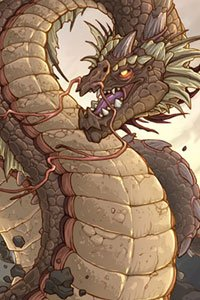 A large serpentine dragon rears.
