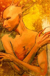 A hairless man with a spiny head and long fingers stands contemplatively.