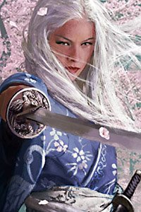 A white-haired woman in an ornate blue kimono brandishes a katana.