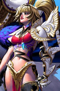 A blond woman wearing white and gold armor.