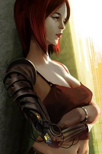 An attractive woman in a tank-top rests, her natural and cybernetic arms crossed.
