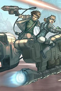 Two young adventurers ride a rocket-powered vehicle.