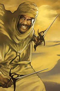 A bearded man in robes angrily wields two daggers.