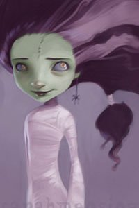 A green-skinned little girl with big hair and a white dress looks up.