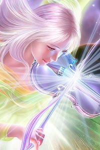 A white-haired woman plays a magical glowing violin.