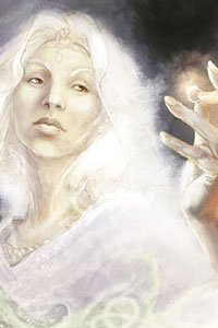 A pale elfin woman with white hair regards her ring carefully.