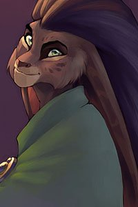 An anthropomorphic rabbit with long hair and a green cloak.