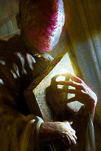 A faceless, red-skinned figure clutches a large yellow book to its chest.