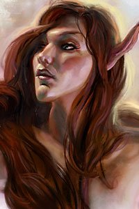 A slender elf woman with long brown hair.