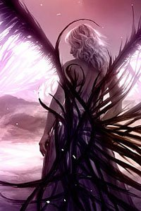 A blond woman with large translucent wings gazes across an alien landscape.